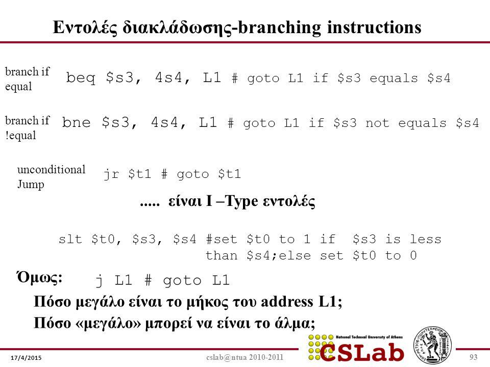 Εντολές διακλάδωσης-branching instructions