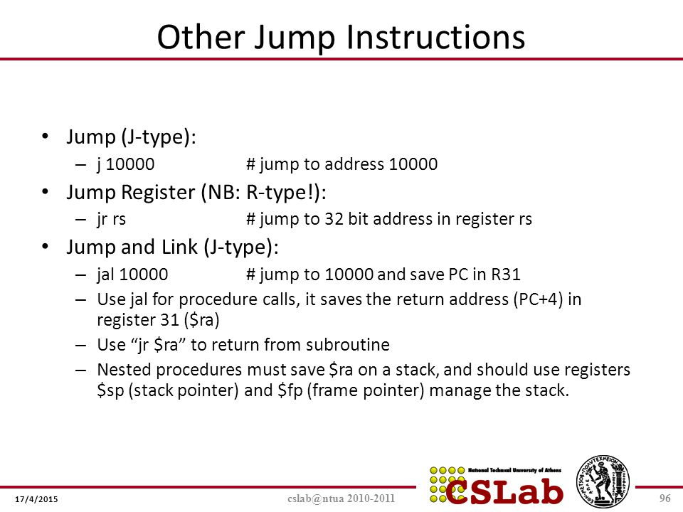 Other Jump Instructions