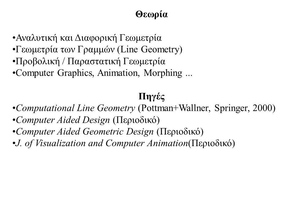Θεωρία Αναλυτική και Διαφορική Γεωμετρία. Γεωμετρία των Γραμμών (Line Geometry) Προβολική / Παραστατική Γεωμετρία.