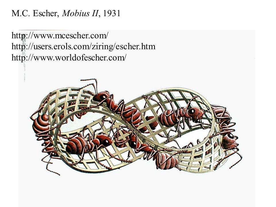 M.C. Escher, Mobius II, 1931 http://www.mcescher.com/ http://users.erols.com/ziring/escher.htm.