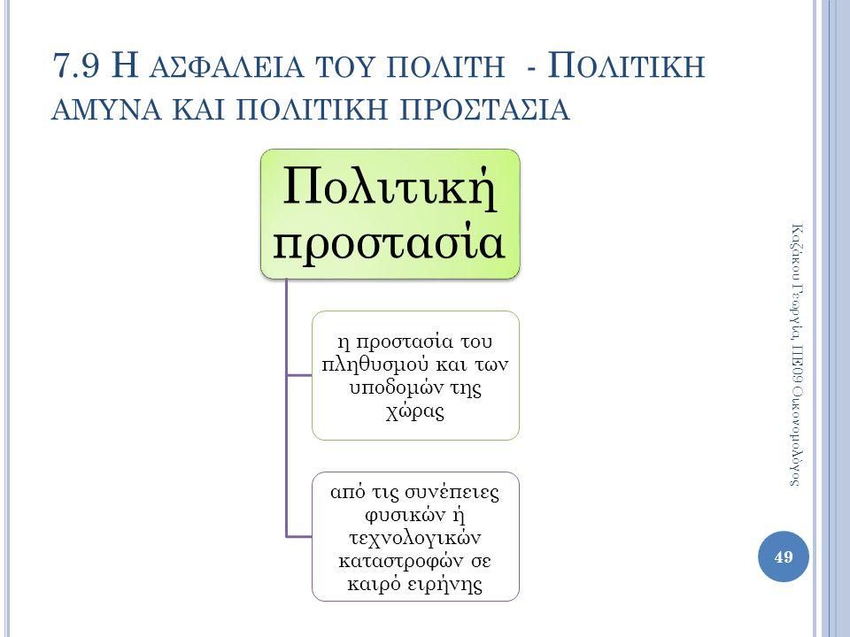 7.9 Η ασφαλεια του πολιτη - Πολιτικη αμυνα και πολιτικη προστασια