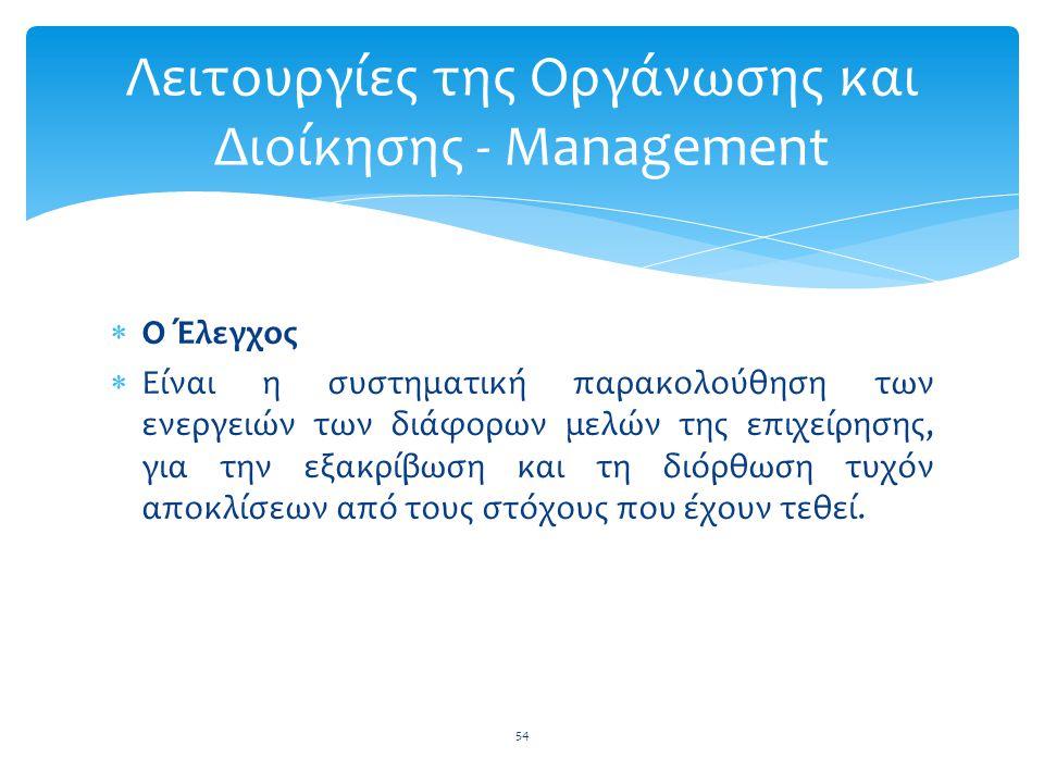 Λειτουργίες της Οργάνωσης και Διοίκησης - Management