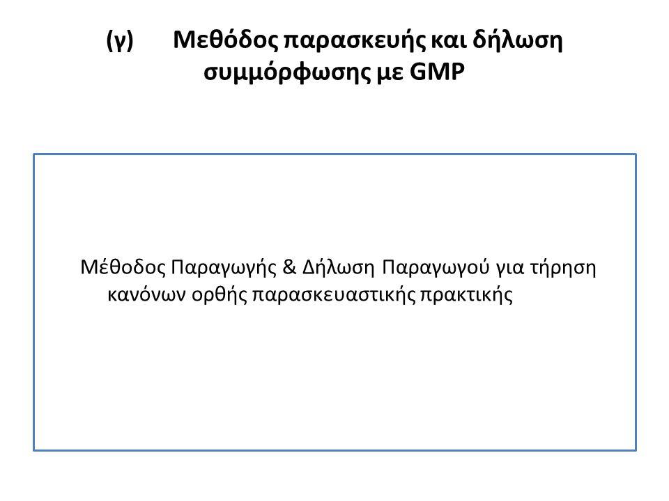 (γ) Μεθόδος παρασκευής και δήλωση συμμόρφωσης με GMP