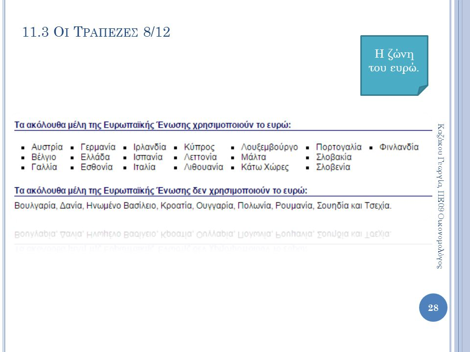 11.3 Οι Τραπεζεσ 8/12 Η ζώνη του ευρώ.