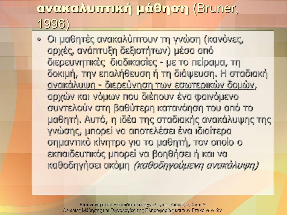 ανακαλυπτική μάθηση (Bruner, 1996)