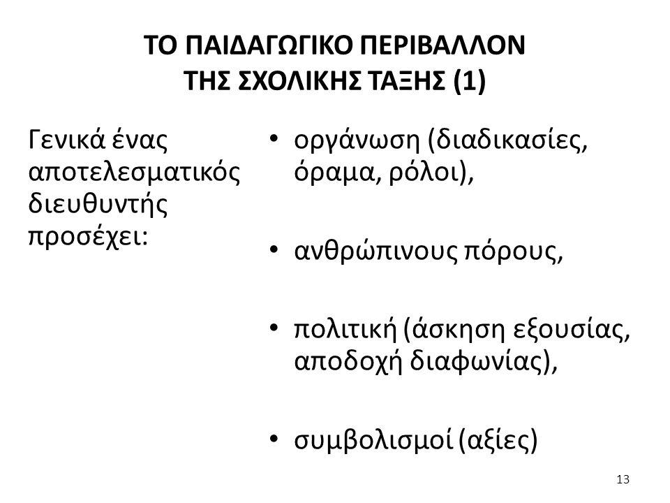 ΤΟ ΠΑΙΔΑΓΩΓΙΚΟ ΠΕΡΙΒΑΛΛΟΝ ΤΗΣ ΣΧΟΛΙΚΗΣ ΤΑΞΗΣ (1)