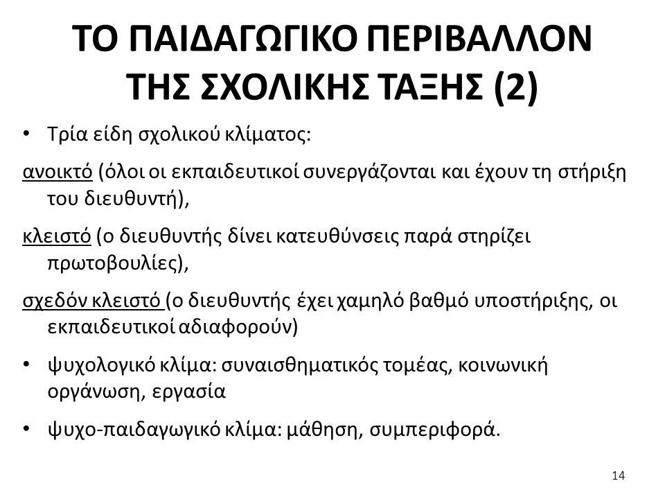 ΤΟ ΠΑΙΔΑΓΩΓΙΚΟ ΠΕΡΙΒΑΛΛΟΝ ΤΗΣ ΣΧΟΛΙΚΗΣ ΤΑΞΗΣ (2)