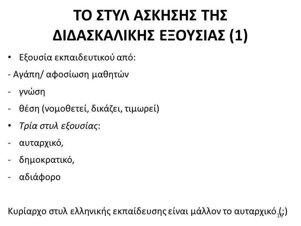 ΤΟ ΣΤΥΛ ΑΣΚΗΣΗΣ ΤΗΣ ΔΙΔΑΣΚΑΛΙΚΗΣ ΕΞΟΥΣΙΑΣ (1)
