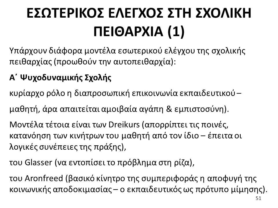 ΕΣΩΤΕΡΙΚΟΣ ΕΛΕΓΧΟΣ ΣΤΗ ΣΧΟΛΙΚΗ ΠΕΙΘΑΡΧΙΑ (1)