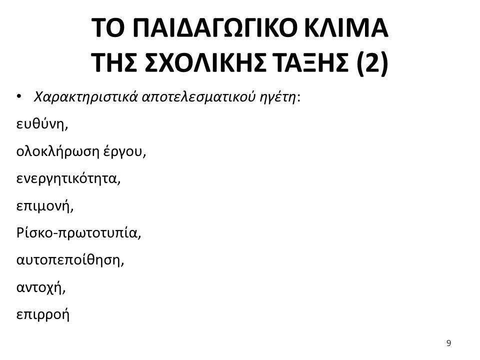 ΤΟ ΠΑΙΔΑΓΩΓΙΚΟ ΚΛΙΜΑ ΤΗΣ ΣΧΟΛΙΚΗΣ ΤΑΞΗΣ (2)