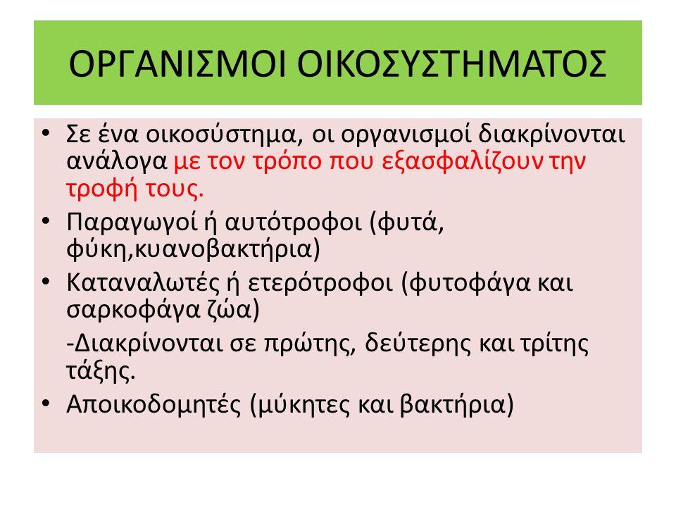 ΟΡΓΑΝΙΣΜΟΙ ΟΙΚΟΣΥΣΤΗΜΑΤΟΣ