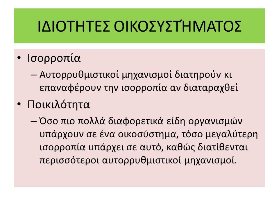 ΙΔΙΟΤΗΤΕΣ ΟΙΚΟΣΥΣΤΉΜΑΤΟΣ