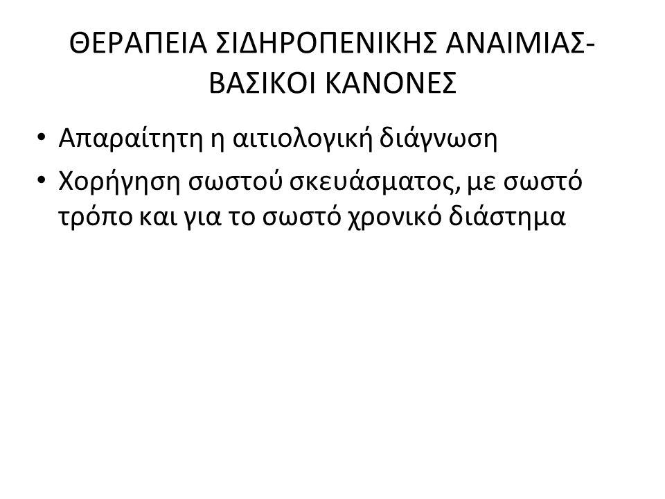 ΘΕΡΑΠΕΙΑ ΣΙΔΗΡΟΠΕΝΙΚΗΣ ΑΝΑΙΜΙΑΣ-ΒΑΣΙΚΟΙ ΚΑΝΟΝΕΣ