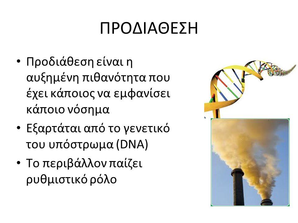 ΠΡΟΔΙΑΘΕΣΗ Προδιάθεση είναι η αυξημένη πιθανότητα που έχει κάποιος να εμφανίσει κάποιο νόσημα. Εξαρτάται από το γενετικό του υπόστρωμα (DNA)