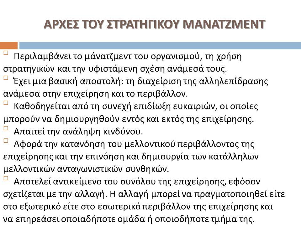 ΑΡΧΕΣ ΤΟΥ ΣΤΡΑΤΗΓΙΚΟΥ ΜΑΝΑΤΖΜΕΝΤ