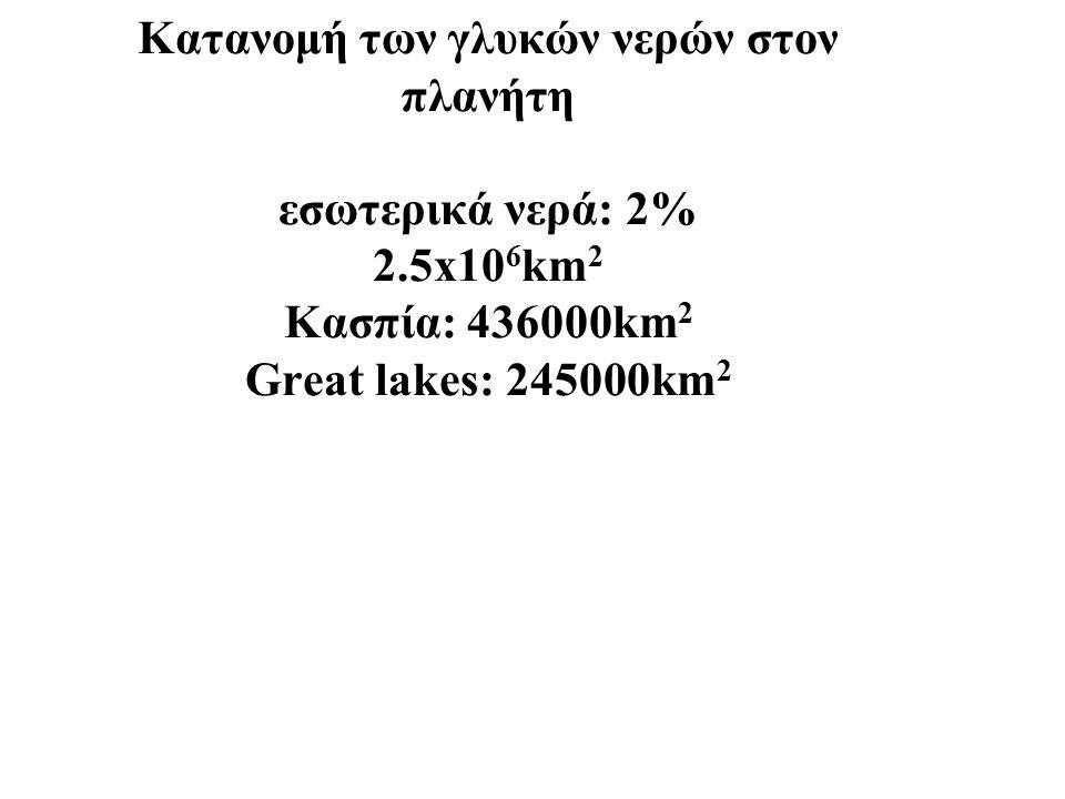 Κατανομή των γλυκών νερών στον πλανήτη εσωτερικά νερά: 2% 2