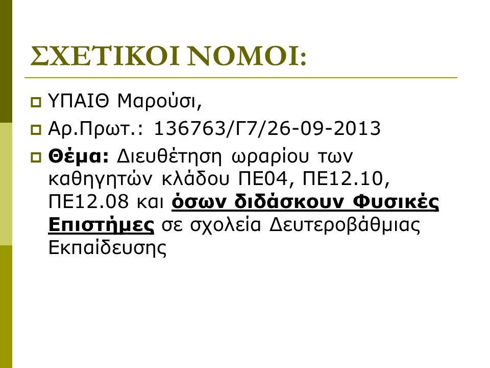 ΣΧΕΤΙΚΟΙ ΝΟΜΟΙ: ΥΠΑΙΘ Μαρούσι, Αρ.Πρωτ.: 136763/Γ7/26-09-2013