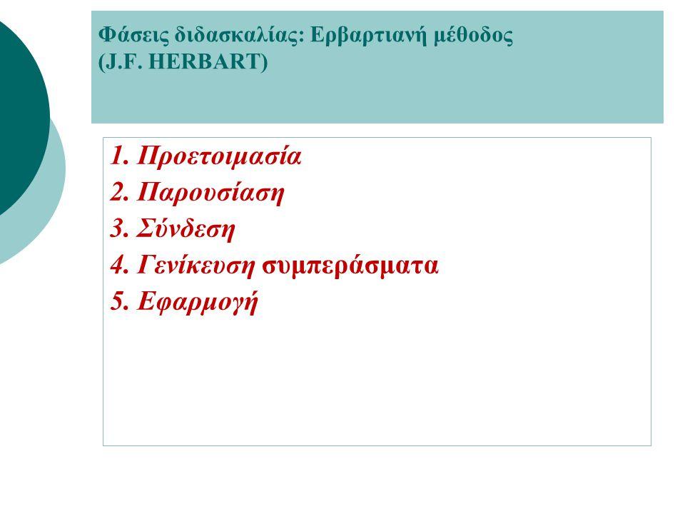 Φάσεις διδασκαλίας: Ερβαρτιανή μέθοδος (J.F. HERBART)