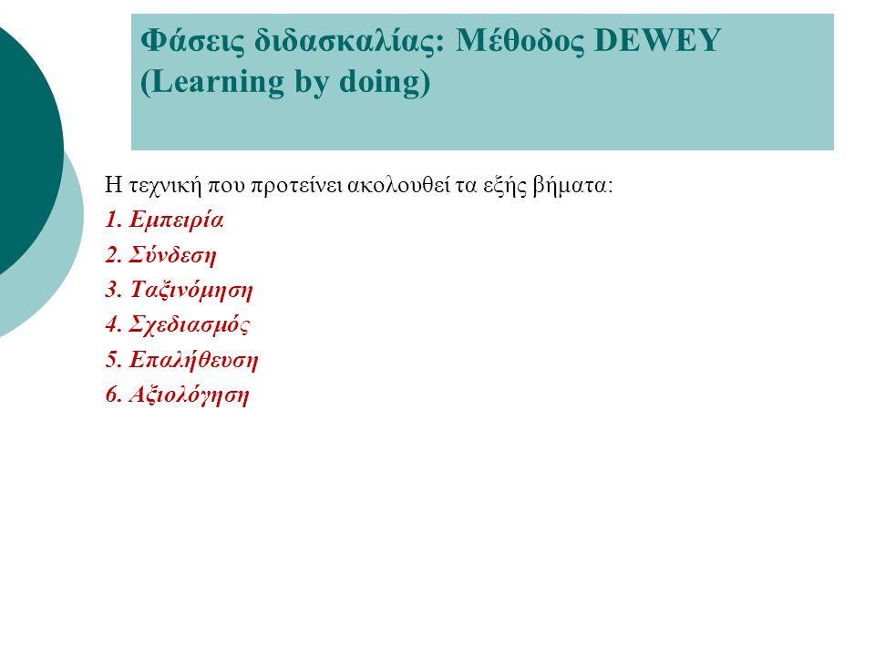 Φάσεις διδασκαλίας: Μέθοδος DEWEY (Learning by doing)