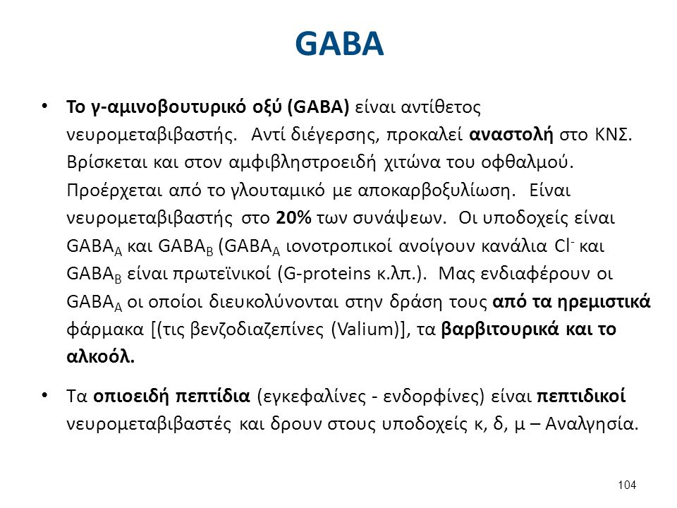 GABA Νευρώνας και υποδοχείς GABA