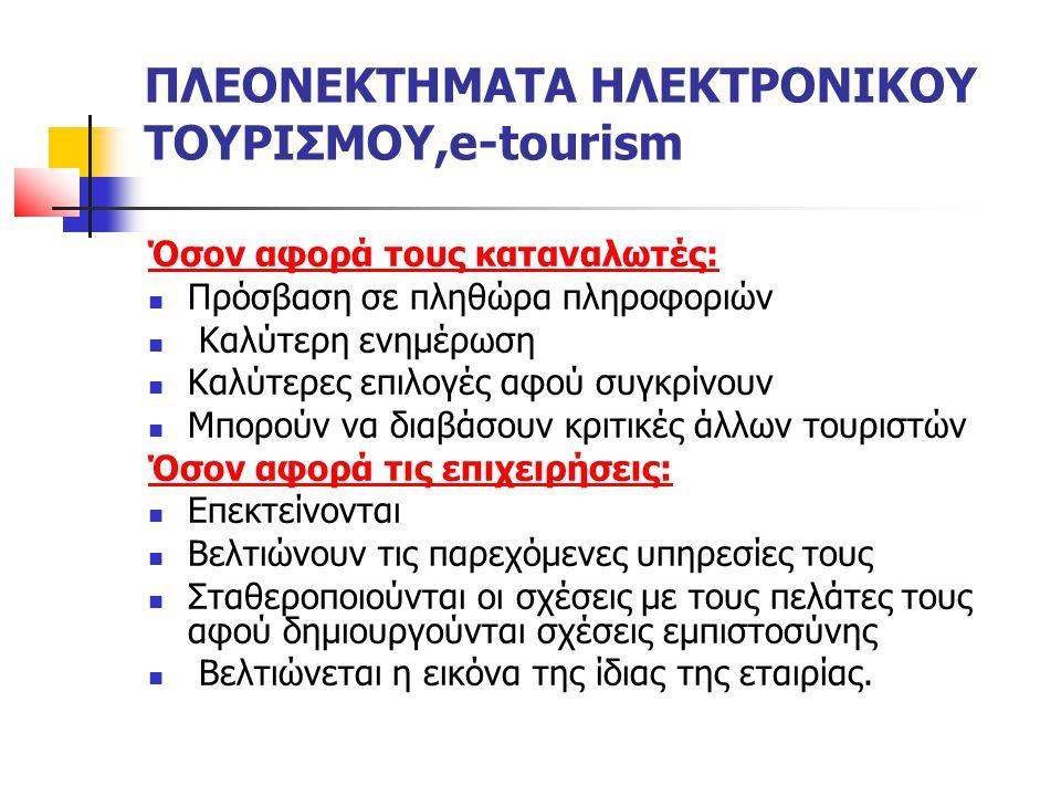 ΠΛΕΟΝΕΚΤΗΜΑΤΑ ΗΛΕΚΤΡΟΝΙΚΟΥ ΤΟΥΡΙΣΜΟΥ,e-tourism