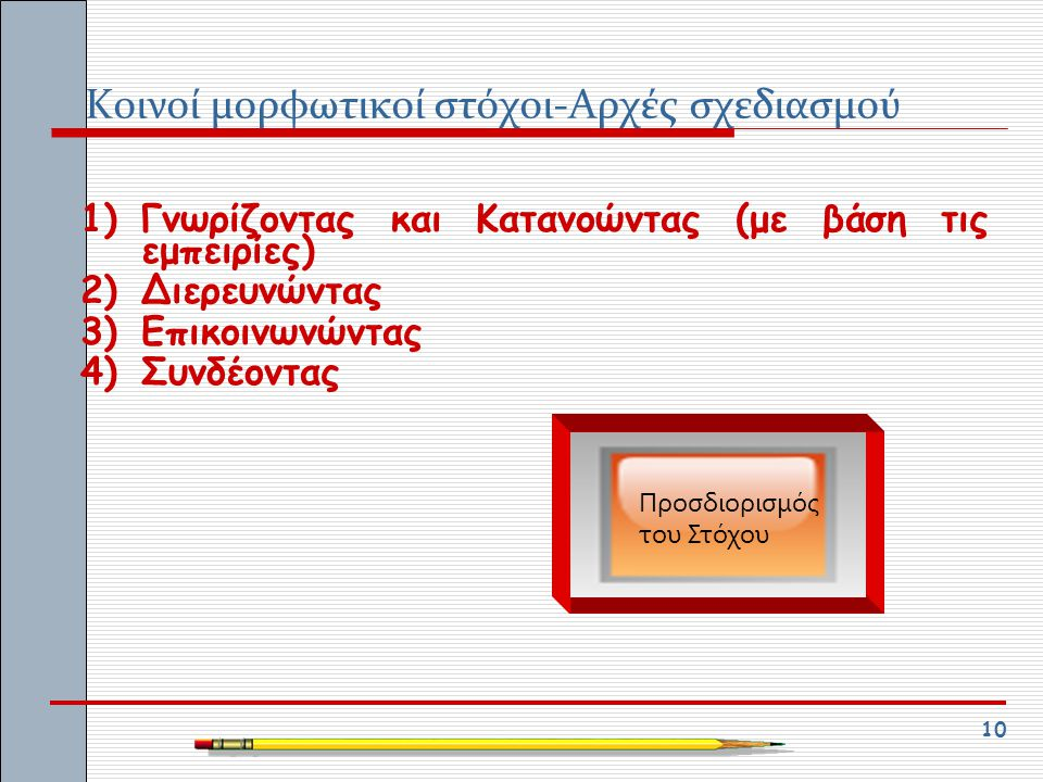 Κοινοί μορφωτικοί στόχοι-Αρχές σχεδιασμού