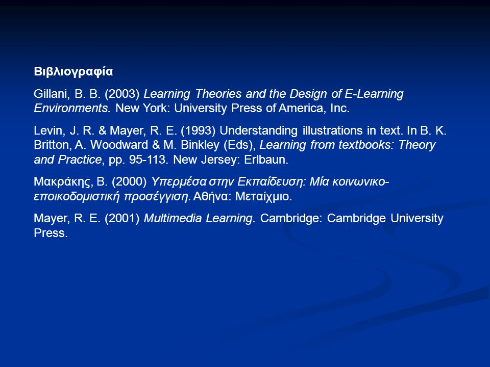 Βιβλιογραφία Gillani, B. B. (2003) Learning Theories and the Design of E-Learning Environments. New York: University Press of America, Inc.