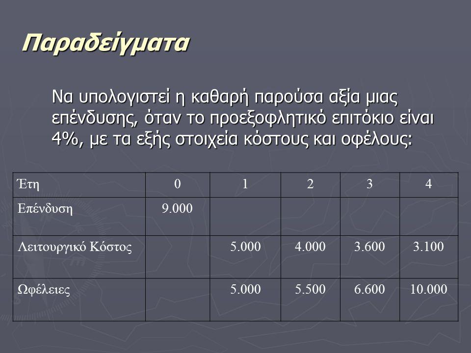 Παραδείγματα Να υπολογιστεί η καθαρή παρούσα αξία μιας επένδυσης, όταν το προεξοφλητικό επιτόκιο είναι 4%, με τα εξής στοιχεία κόστους και οφέλους: