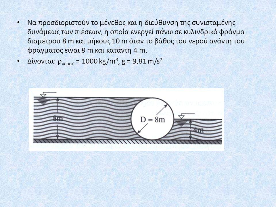 Να προσδιοριστούν το μέγεθος και η διεύθυνση της συνισταμένης δυνάμεως των πιέσεων, η οποία ενεργεί πάνω σε κυλινδρικό φράγμα διαμέτρου 8 m και μήκους 10 m όταν το βάθος του νερού ανάντη του φράγματος είναι 8 m και κατάντη 4 m.