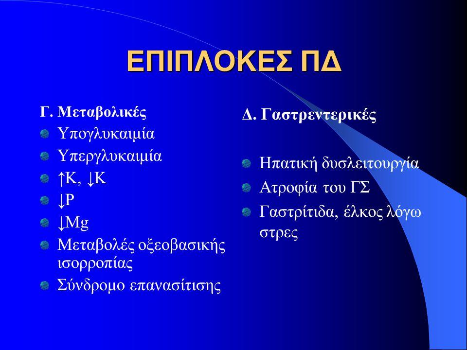 ΕΠΙΠΛΟΚΕΣ ΠΔ Δ. Γαστρεντερικές Υπογλυκαιμία Υπεργλυκαιμία