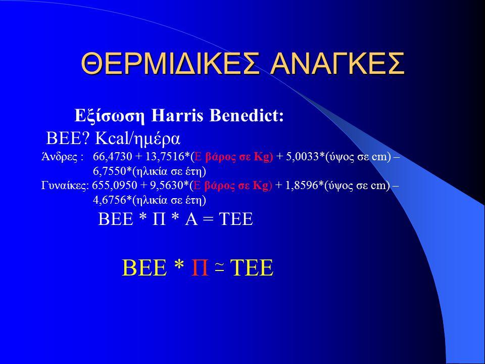 ΘΕΡΜΙΔΙΚΕΣ ΑΝΑΓΚΕΣ Εξίσωση Harris Benedict: ΒΕΕ Kcal/ημέρα