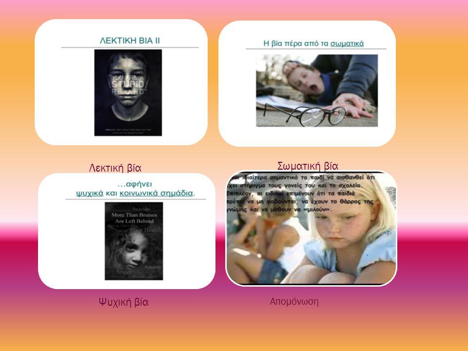 Λεκτική βία Σωματική βία Ψυχική βία Απομόνωση