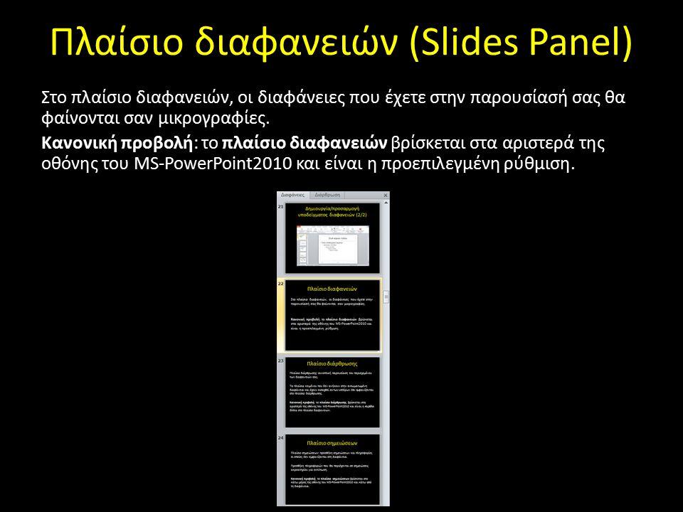 Πλαίσιο διαφανειών (Slides Panel)