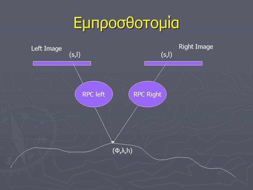 Εμπροσθοτομία Right Image Left Image (s,l) (s,l) RPC left RPC Right