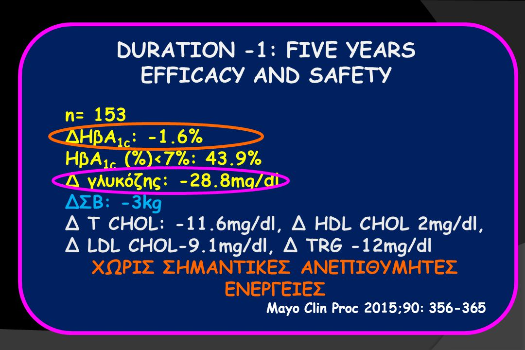 DURATION -1: FIVE YEARS EFFICACY AND SAFETY