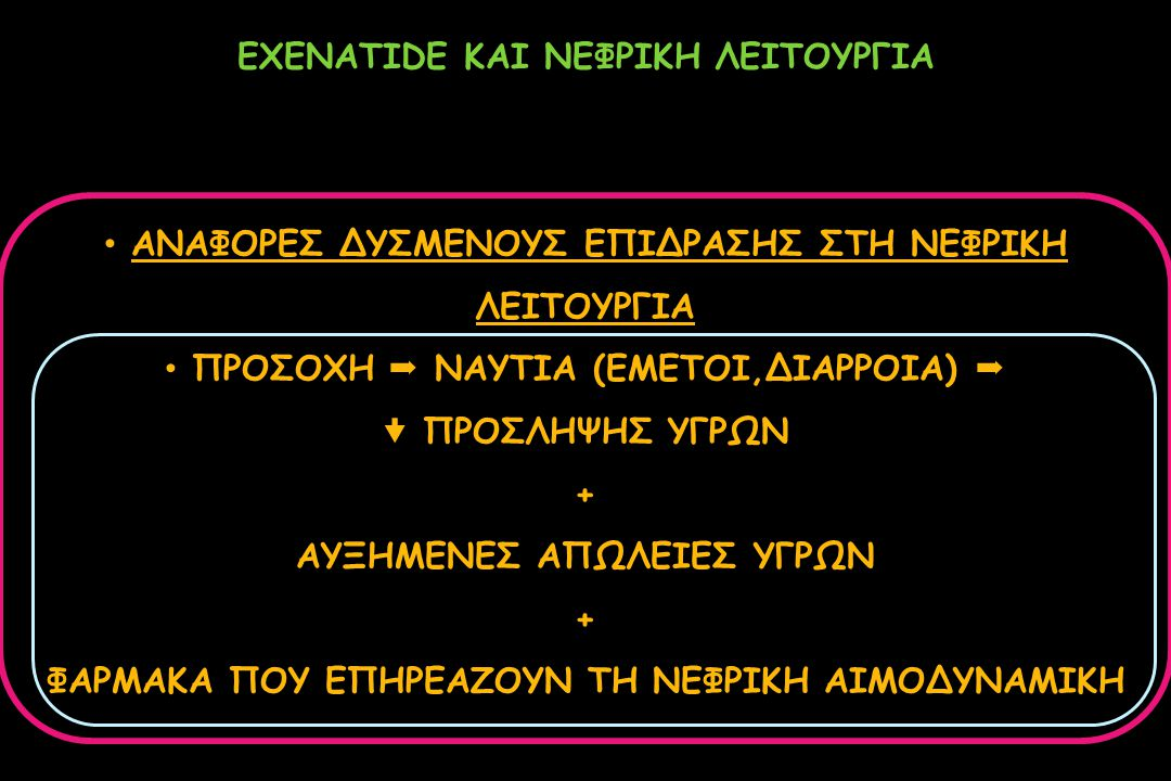 EXENATIDE ΚΑΙ ΝΕΦΡΙΚΗ ΛΕΙΤΟΥΡΓΙΑ