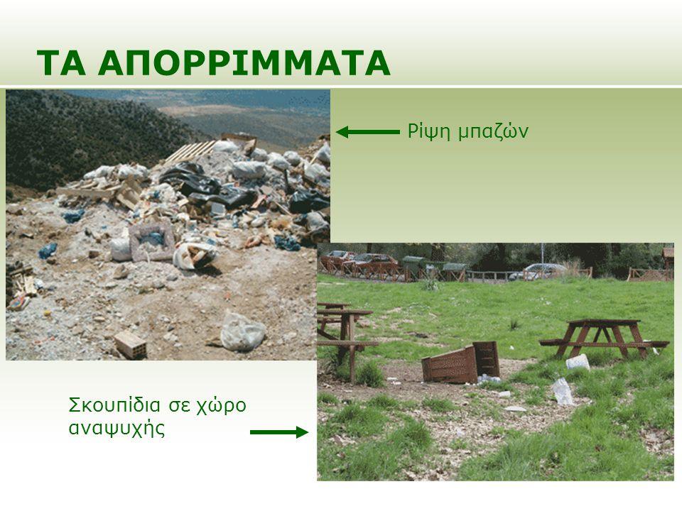 ΤΑ ΑΠΟΡΡΙΜΜΑΤΑ Ρίψη μπαζών Σκουπίδια σε χώρο αναψυχής