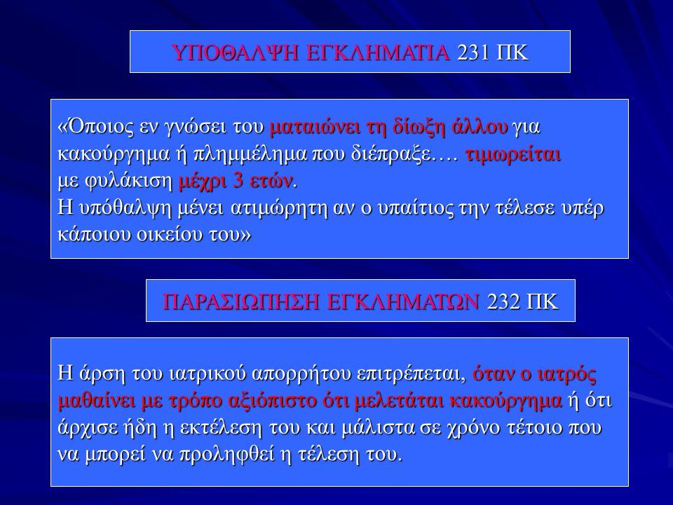 ΥΠΟΘΑΛΨΗ ΕΓΚΛΗΜΑΤΙΑ 231 ΠΚ