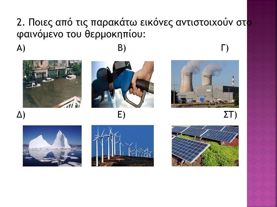 2. Ποιες από τις παρακάτω εικόνες αντιστοιχούν στο φαινόμενο του θερμοκηπίου: