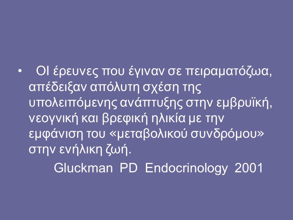 ΟΙ έρευνες που έγιναν σε πειραματόζωα, απέδειξαν απόλυτη σχέση της υπολειπόμενης ανάπτυξης στην εμβρυϊκή, νεογνική και βρεφική ηλικία με την εμφάνιση του «μεταβολικού συνδρόμου» στην ενήλικη ζωή.