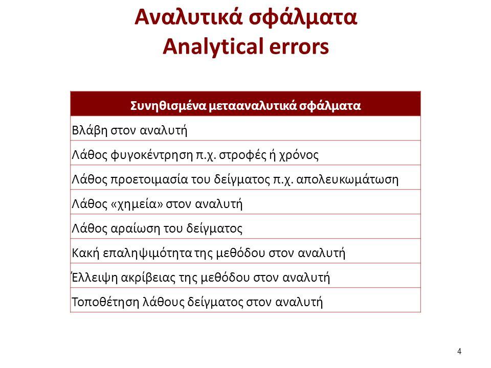 Mεταναλυτικά σφάλματα Post-analytical errors