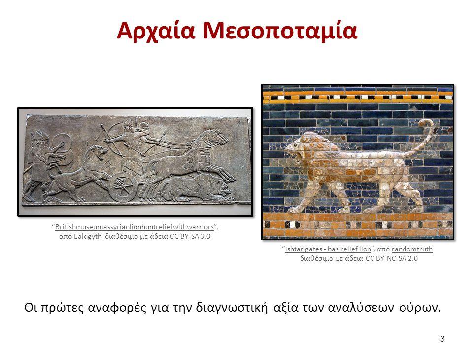 Αρχαία Αίγυπτος Αρκετές αναφορές στις εξετάσεις ούρων (3300 – 2360 π.Χ) University Museum of Bergen.