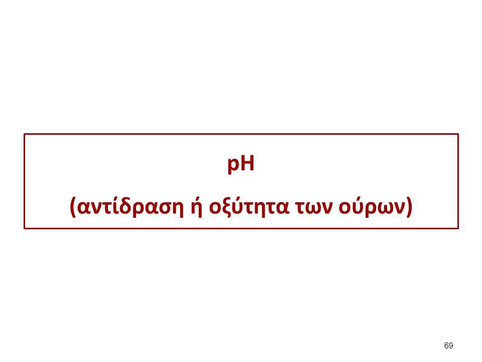 pH Η φυσιολογική τιμή για τους ενήλικες είναι 6, ενώ για τα νεογνά 5-7. Ph. Απάντηση. pH < 7. Αντίδραση όξινη.