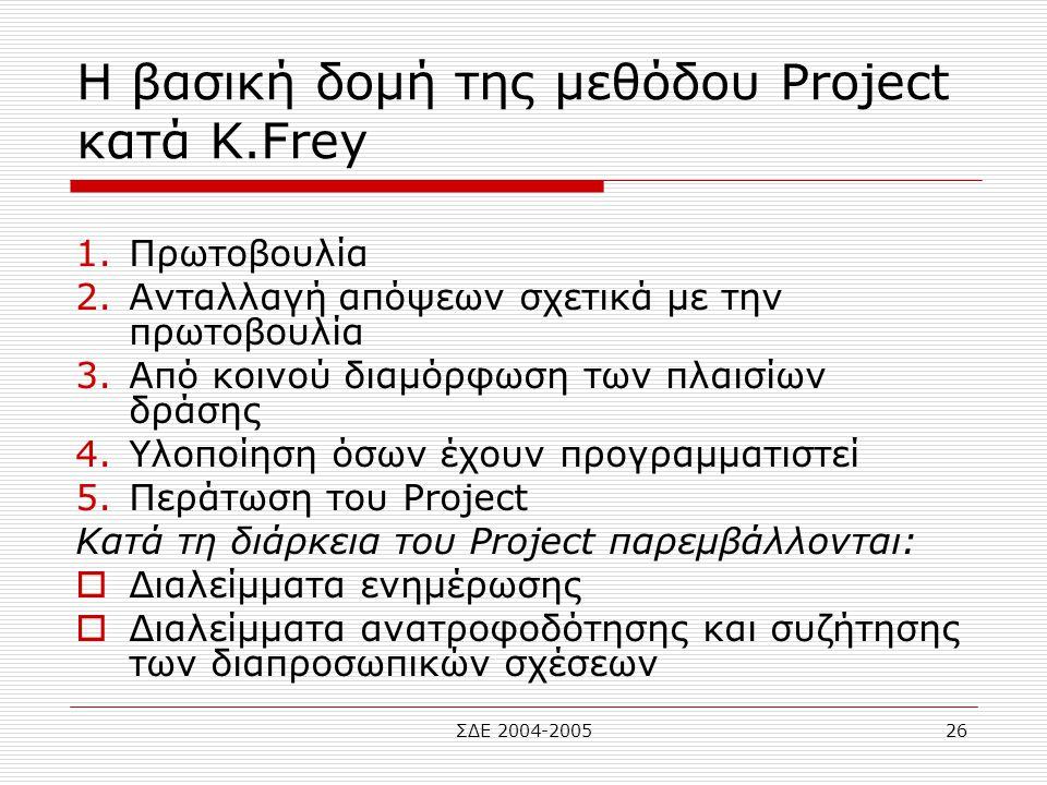 Η βασική δομή της μεθόδου Project κατά Κ.Frey