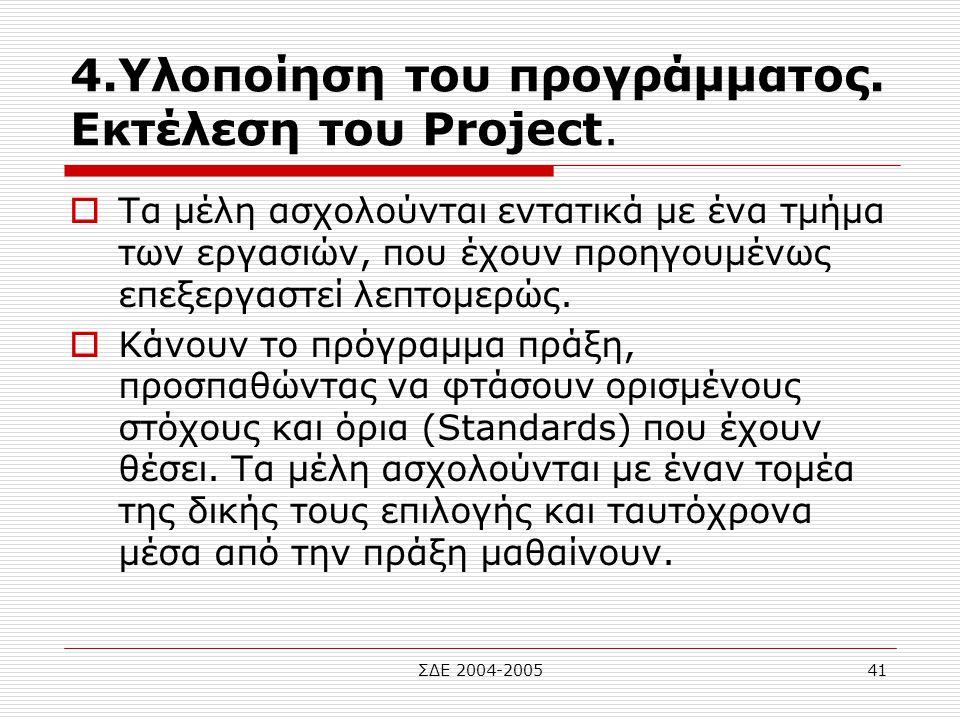 4.Υλοποίηση του προγράμματος. Εκτέλεση του Project.