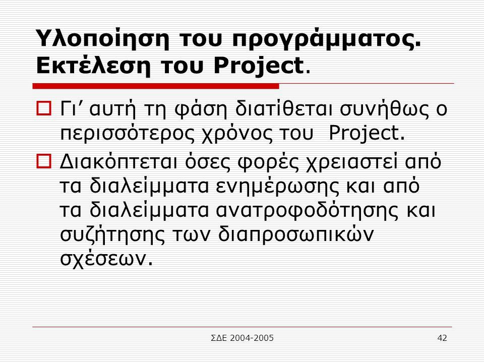 Υλοποίηση του προγράμματος. Εκτέλεση του Project.