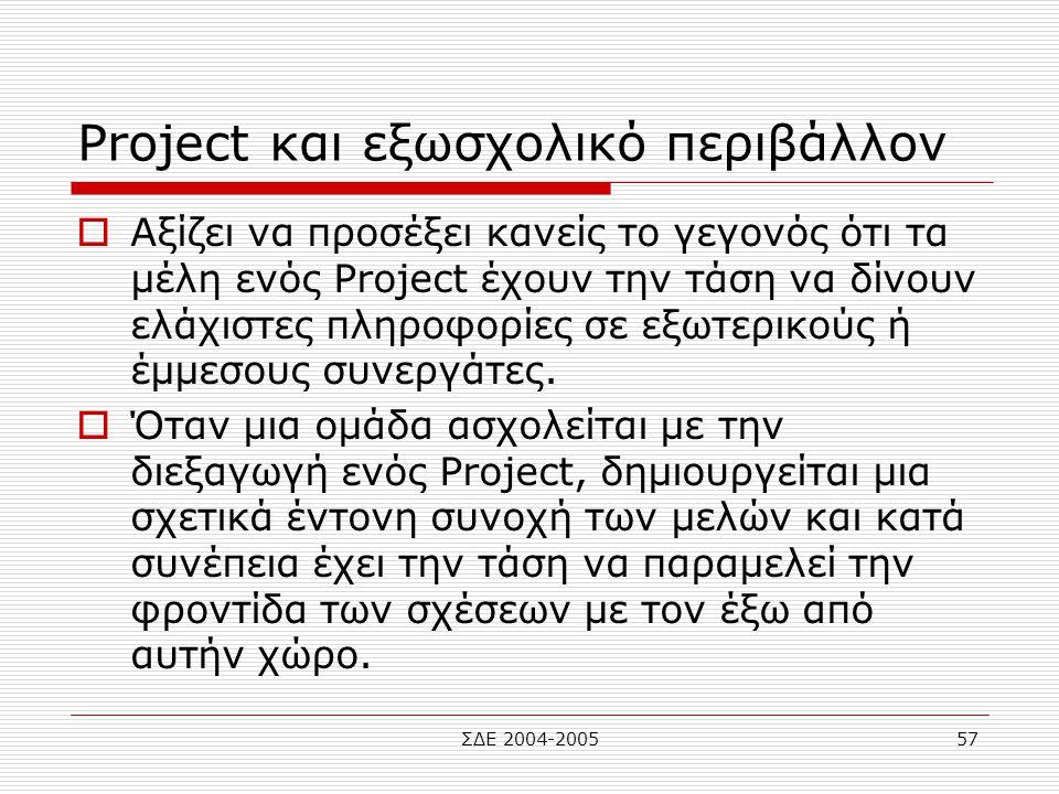 Project και εξωσχολικό περιβάλλον