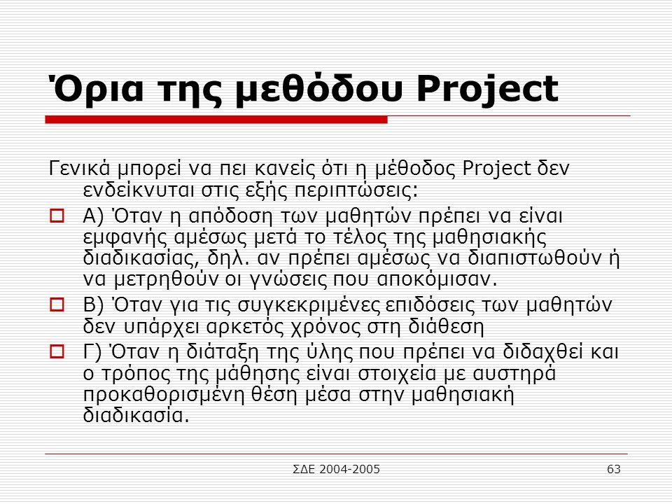 Όρια της μεθόδου Project