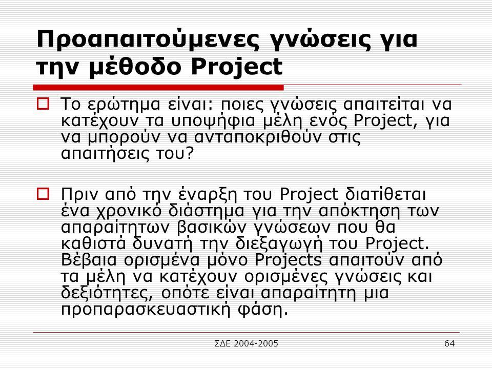 Προαπαιτούμενες γνώσεις για την μέθοδο Project