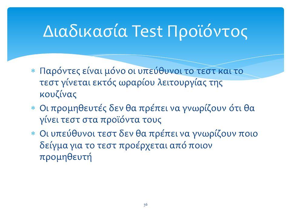 Διαδικασία Test Προϊόντος